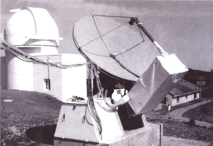 3 GHz Antenna system used  for solar <br/>radio  flux patrol at the Kodaikanal observatory in the mid 1960s.